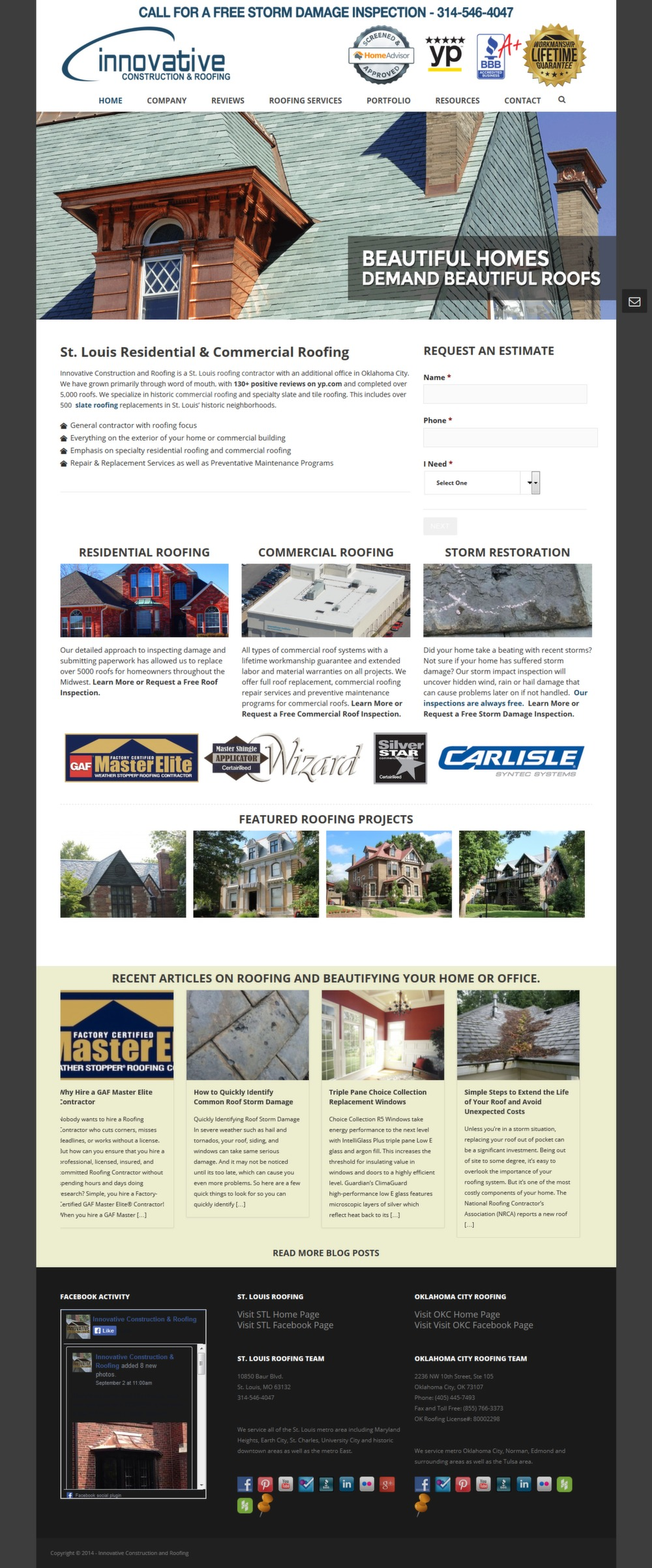Innovative Roofs - Successfully Delivered Projects On-Time and On-Budget. Improved Website Conversation Rate By 80% Against Existing Control.