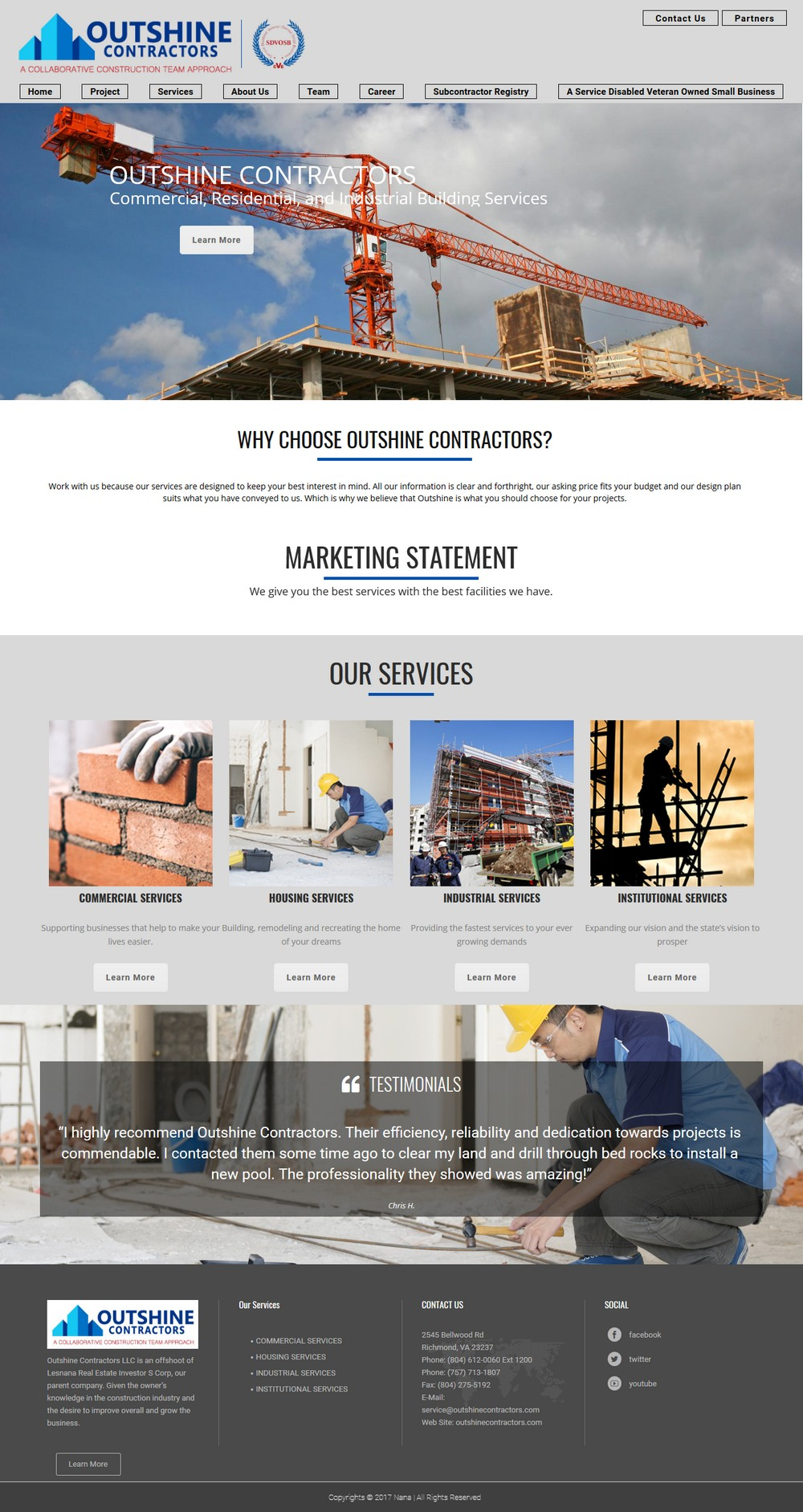 Outshine Contractors - Successfully Delivered Projects On-Time and On-Budget. Improved Website Conversation Rate By 80% Against Existing Control.