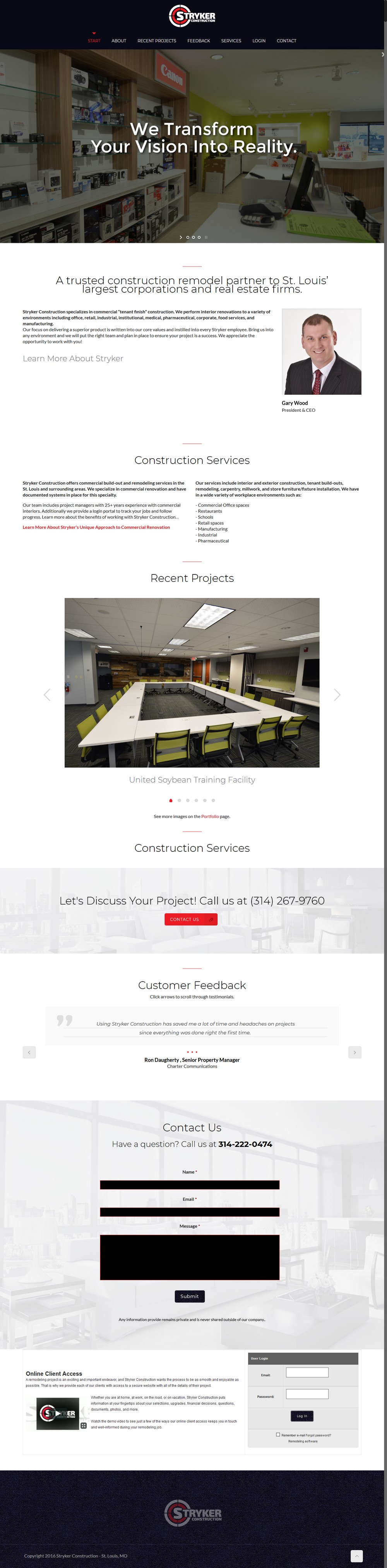 Stryker Construction - Successfully Delivered Projects On-Time and On-Budget. Improved Website Conversation Rate By 80% Against Existing Control.