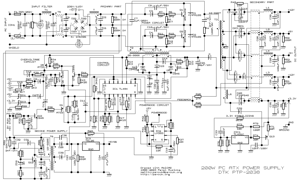 medium resolution of 200w atx pc power supply pc atx power supply schematic atx power supply schematic
