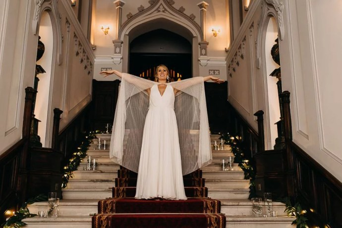 bride on stairs in markree castle sligo