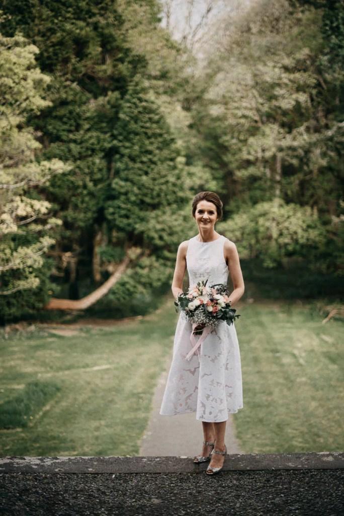brides portrait in Belleek Castle garden