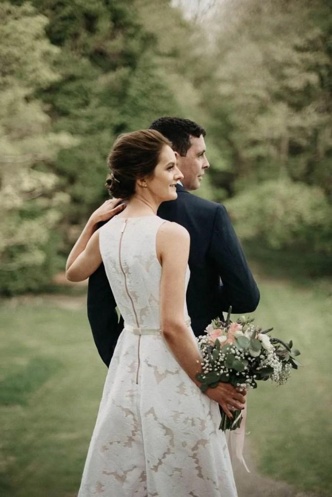 wedding portrait of bride and groom in Belleek Castle garden