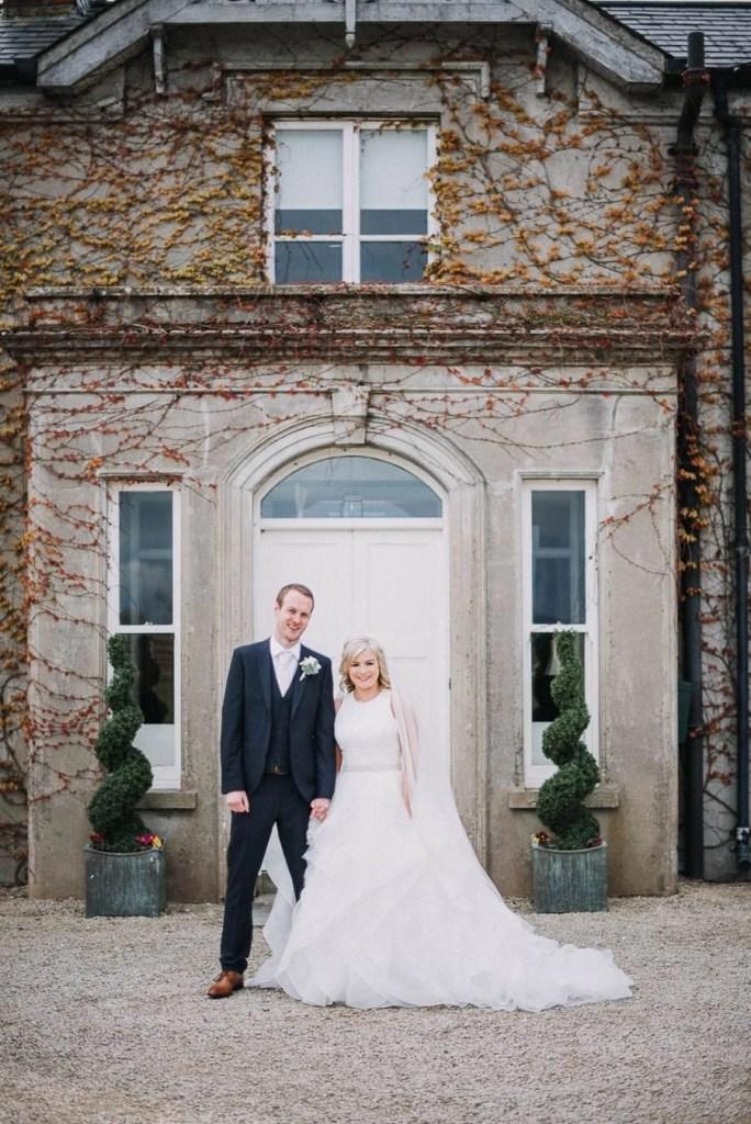 wedding portrait of bride and groom in castle dargan sligo
