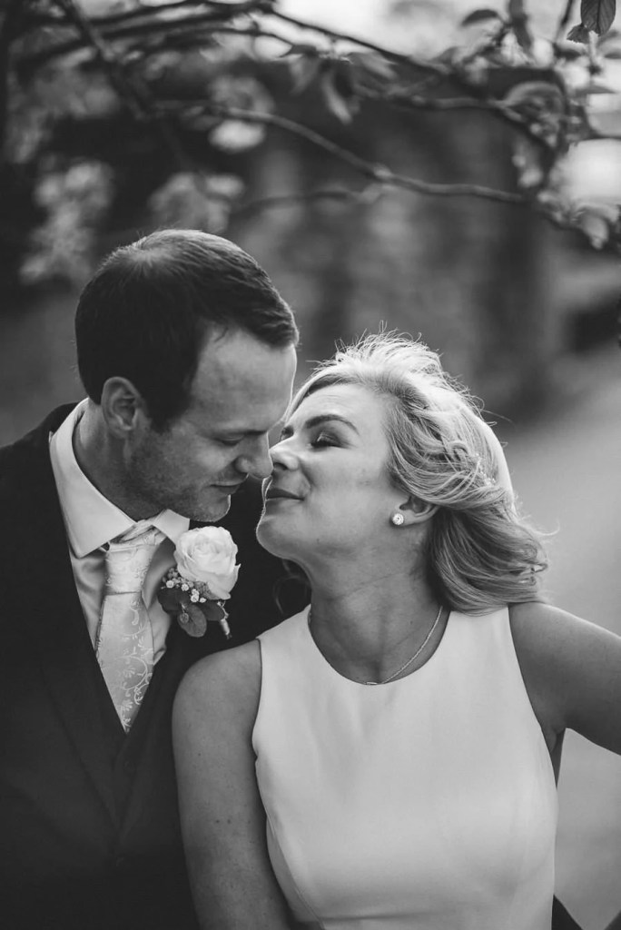 Black and white wedding portrait in castle dargan