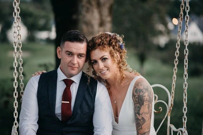 wedding portrait of bride and groom at castle dargan venue, Sligo, Ireland