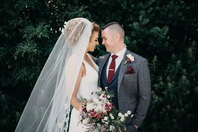 wedding portrait of bride and groom at castle dargan, Sligo, Ireland