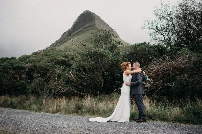 Bride and groom at Benbulben forest walk, Sligo, Ireland