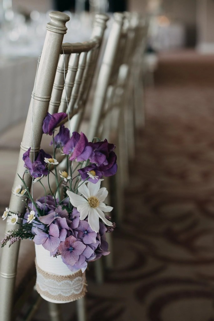 flowers details at wedding reception at Castle Dargan venue, Sligo