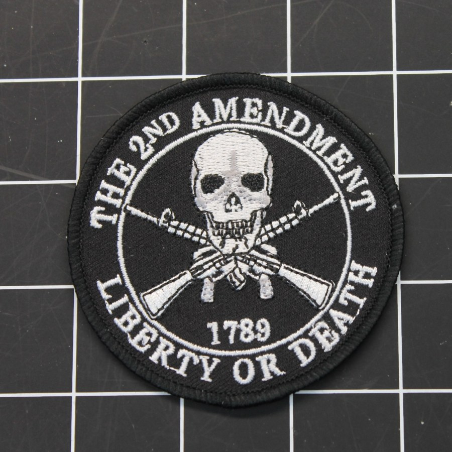 "THE 2ND AMENDMENT 1789 LIBERTY OR DEATH IRON-ON PATCH 3-1/16"" IN DIAMETER 1"
