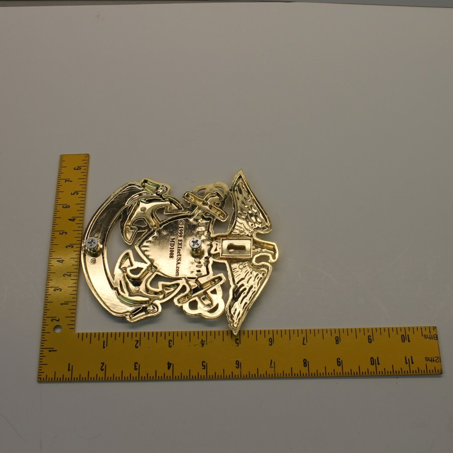"""USN UNITED STATES NAVY GRILL BADGE CAR TRUCK NEW 6-1/4"""" BRASS 4"""