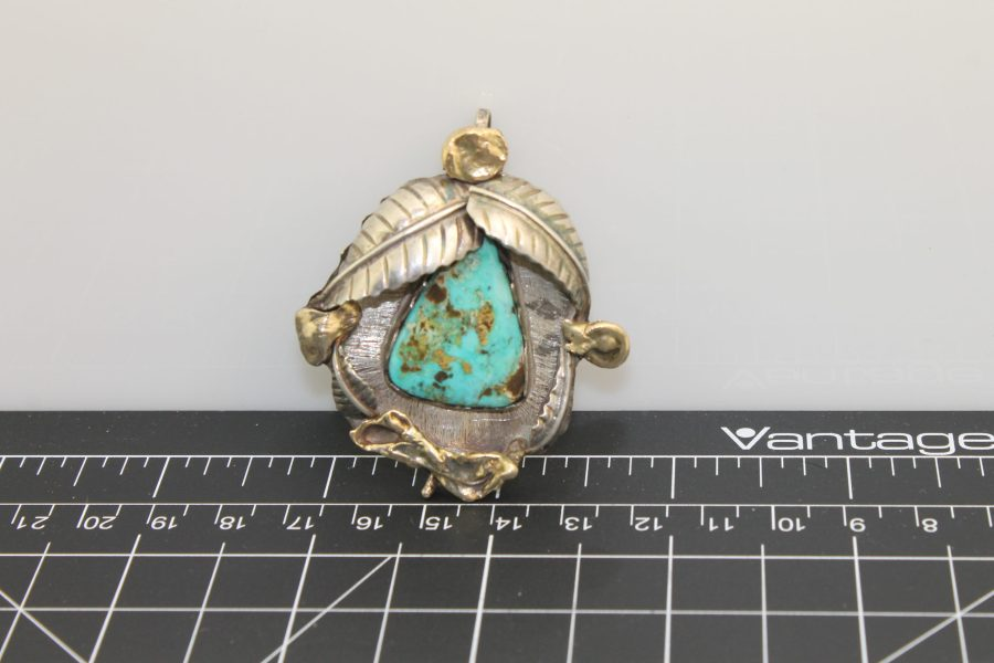 """Native American Handmade Turquoise Pendant with 18 Karat Yellow Gold Signed on Back """"18ct"""", Signed by Artist 24 Grams """"DEAD PAWN"""" 1"""
