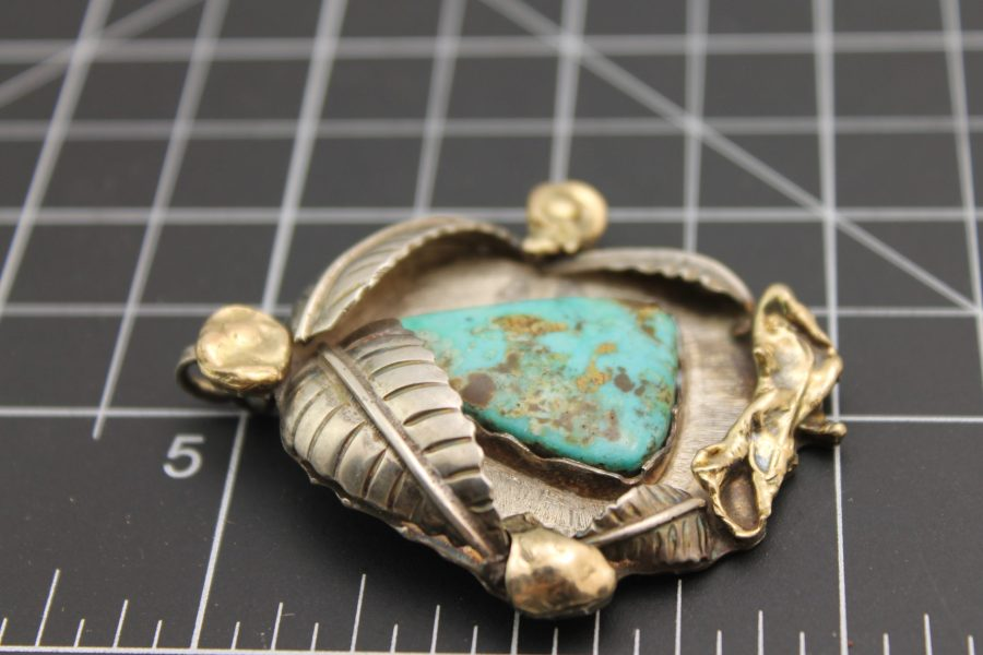 """Native American Handmade Turquoise Pendant with 18 Karat Yellow Gold Signed on Back """"18ct"""", Signed by Artist 24 Grams """"DEAD PAWN"""" 2"""