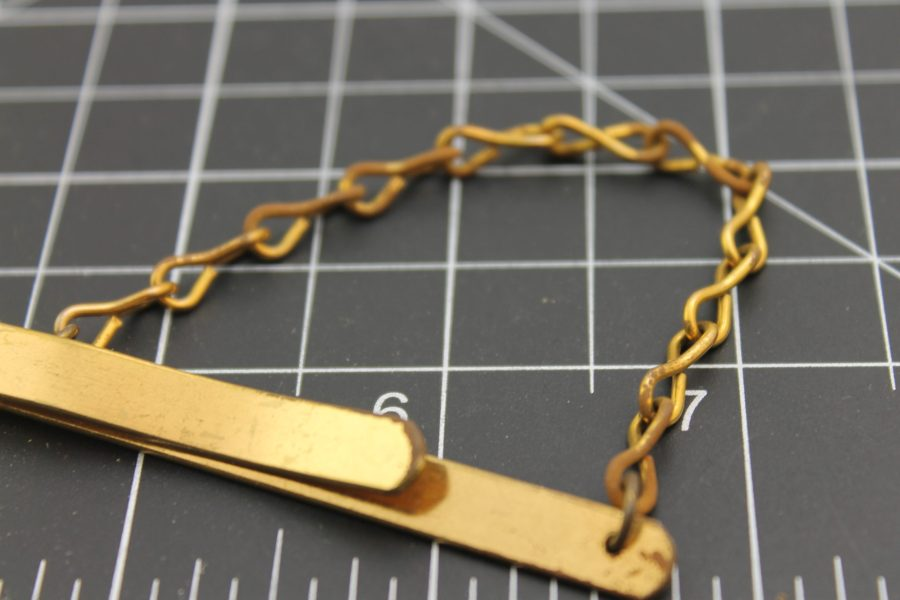 Vintage Style Slide on Tie Bar Yellow Gold Filled with Chain 2