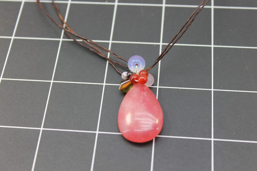 Rose Quartz And Strung Pendant with Moonstone Quartz and Carnelian 16 inches in length handmade 2