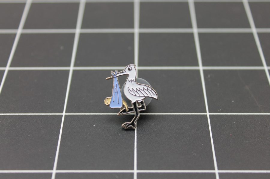Brand-New STORK WITH BABY Enameled Lapel Pin Lifetime Guarantee 1