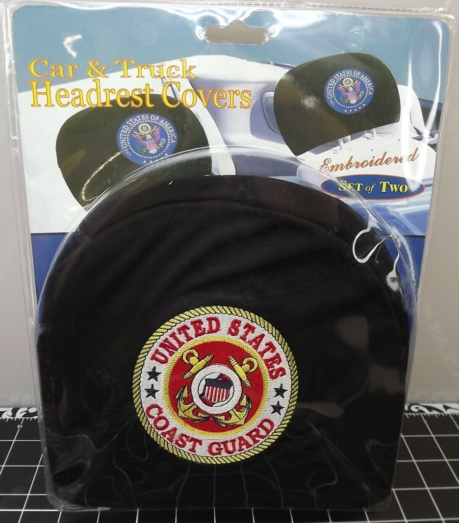 """CAR AND TRUCK HEADREST COVERS-SET OF TWO-UNITED STATES COAST GUARD- BRAND NEW """"USCG"""" 1"""