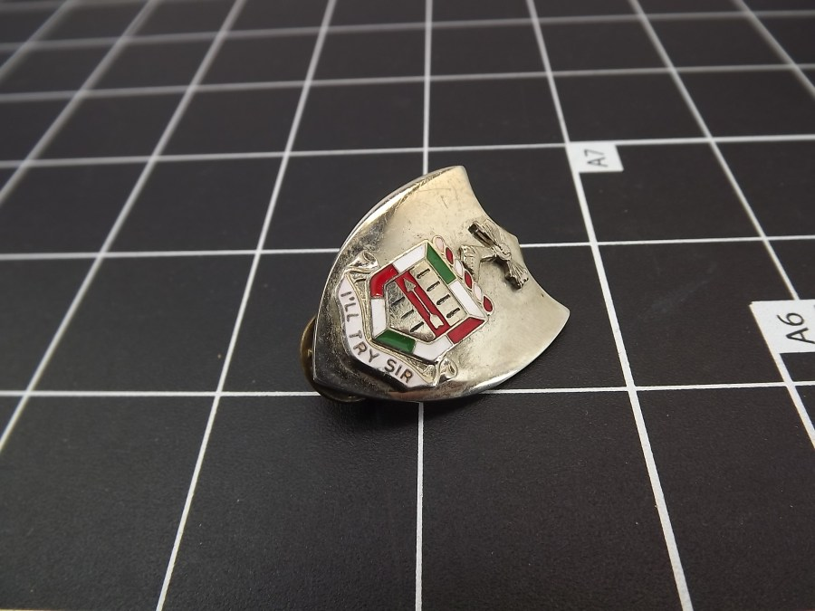 "ANTIQUE SILVER TONE SHIELD ""ILL TRY SIR"" RED WHITE & GREEN ENAMEL LAPEL PIN 1"