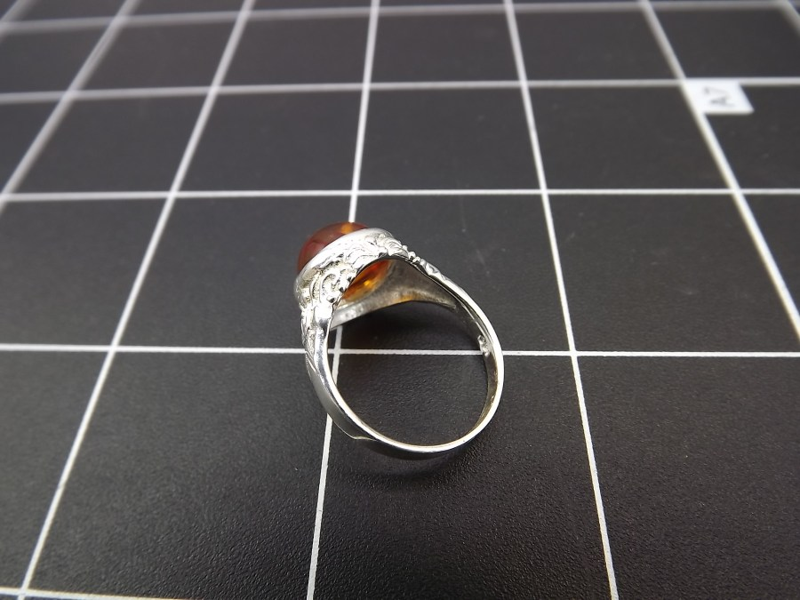 NEW STERLING SILVER 925 AMBER DOME RING 3.7 GRAMS SIZE 6 3