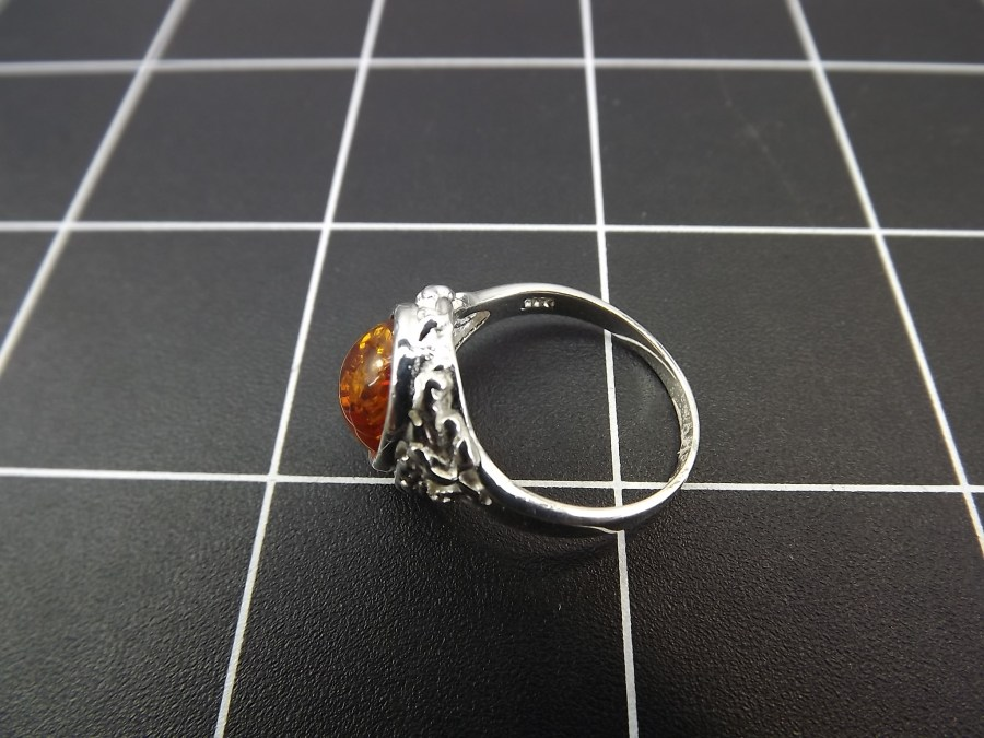 NEW STERLING SILVER 925 AMBER DOME RING 4.0 GRAMS SIZE 8 3