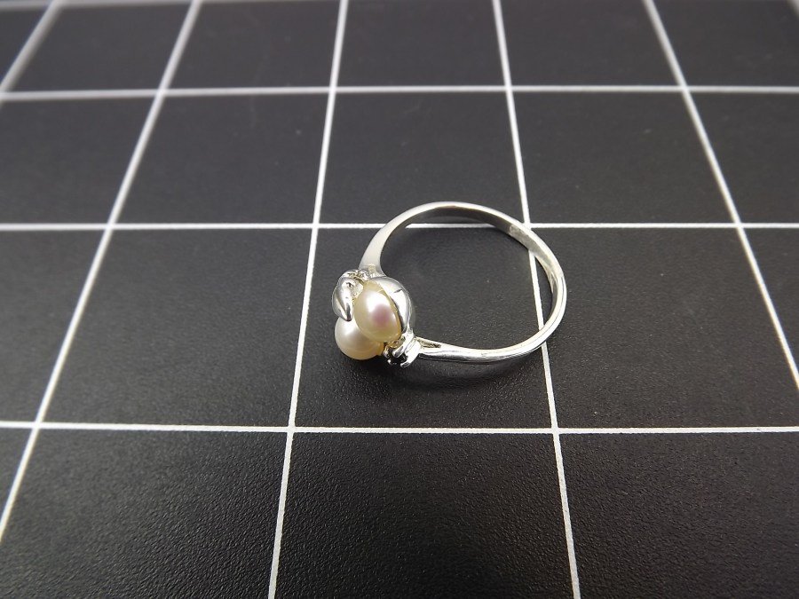 NEW STERLING SILVER 925 PEARL & SAPPHIRE FEATHER STYLE COCKTAIL RING 2.5 GRAMS SIZE 8 3