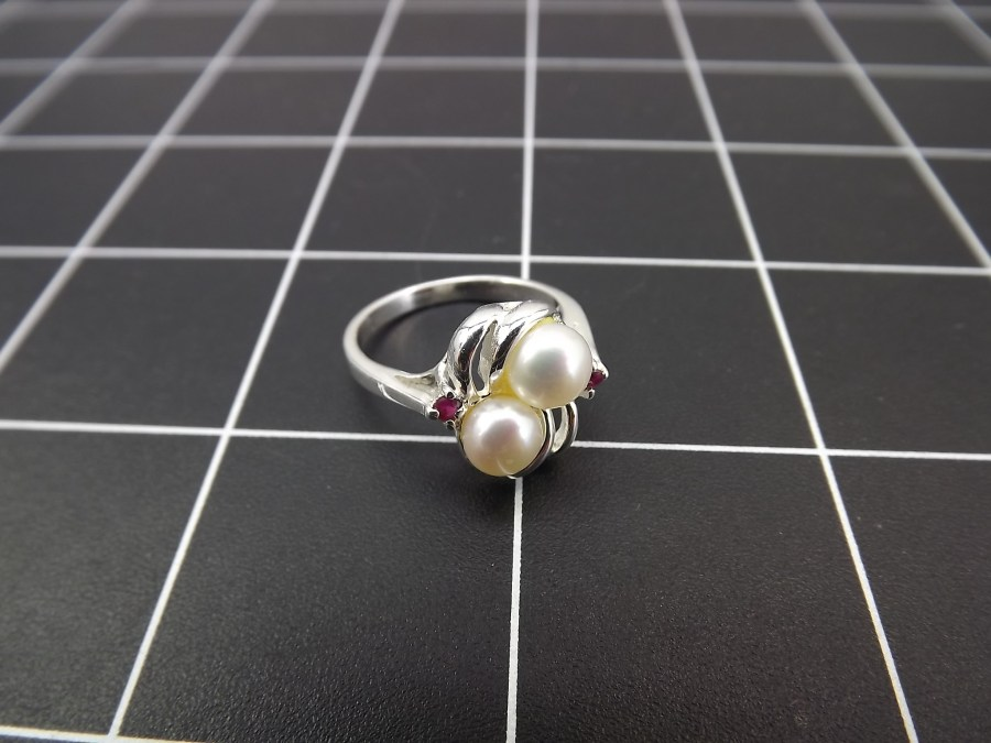 NEW STERLING SILVER 925 PEARL & RUBY SWIRL COCKTAIL RING 4.2 GRAMS SIZE 7 1