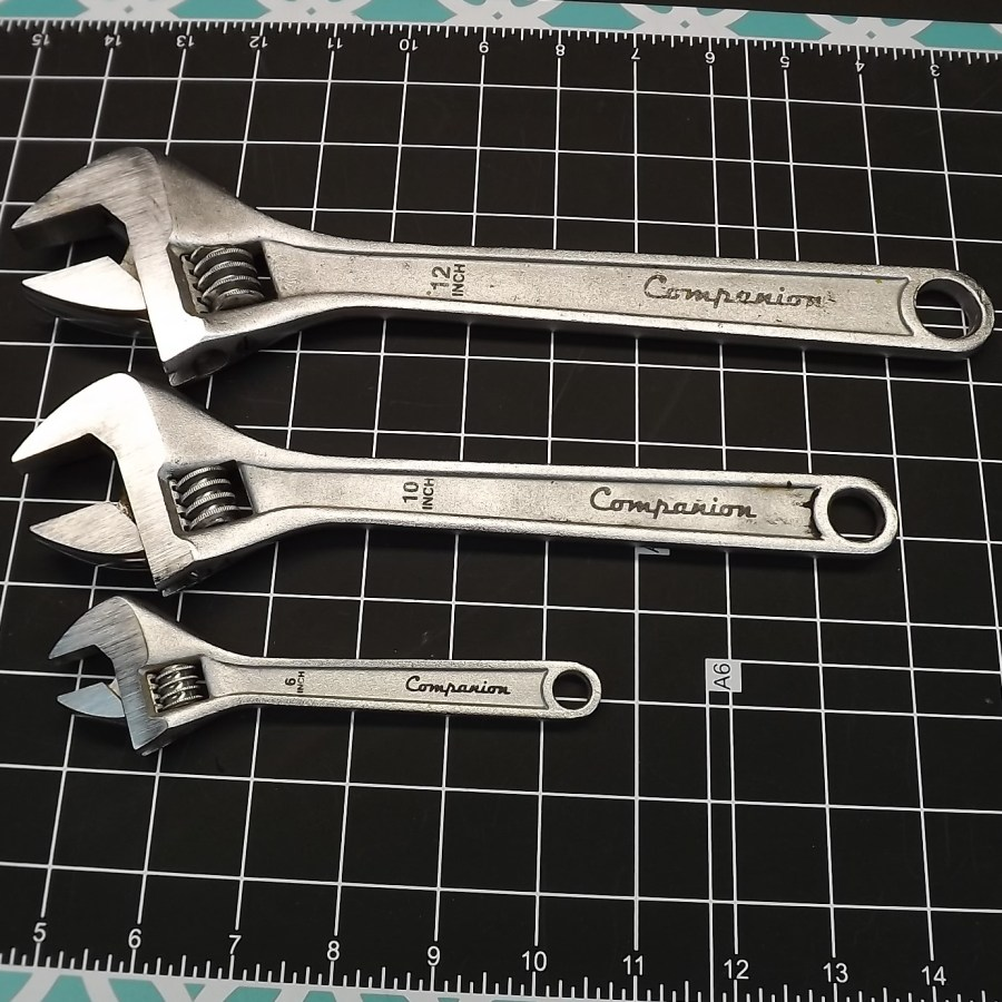 "COMPANION 3-PIECE SET WRENCHES Adjustable Wrench 12""  10""  6"" 1"