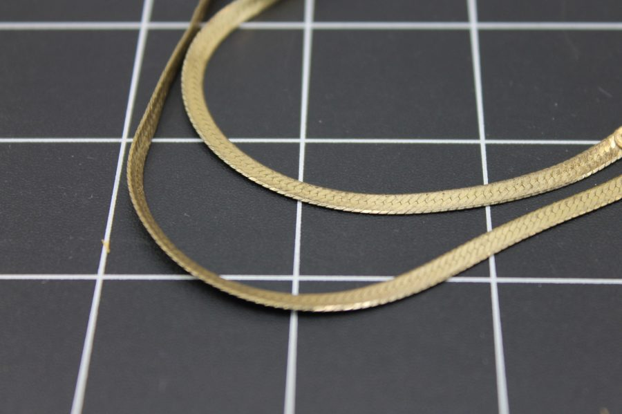"""VINTAGE GOLD PLATED STERLING SILVER 925 HERRINGBONE NECK CHAIN 24"""" LONG 3"""