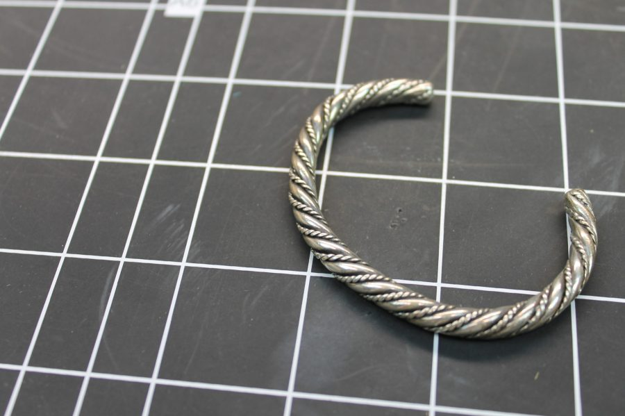 VINTAGE SILVER TONE TWISTED ROPE STYLE CUFF BANGLE BRACELET 3