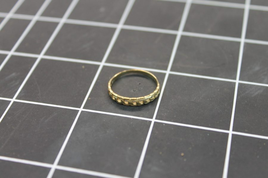 14KT YELLOW GOLD BRAIDED WOVEN PATTERN WEDDING BAND 1.1 GRAMS SIZE 5 3/4 1