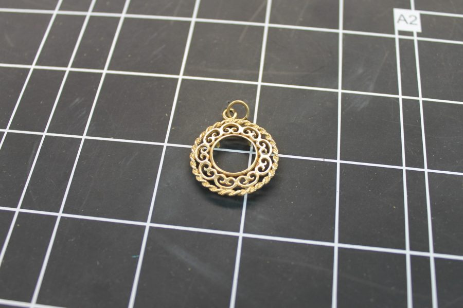 14KT YELLOW GOLD ROUND ROPE DESIGN COIN BEZEL PENDANT 3.2GRAMS 1