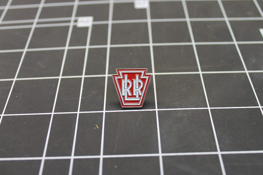 BRAND NEW SILVER TONE RED & WHITE RR RAILROAD ENAMEL LAPEL PIN 1
