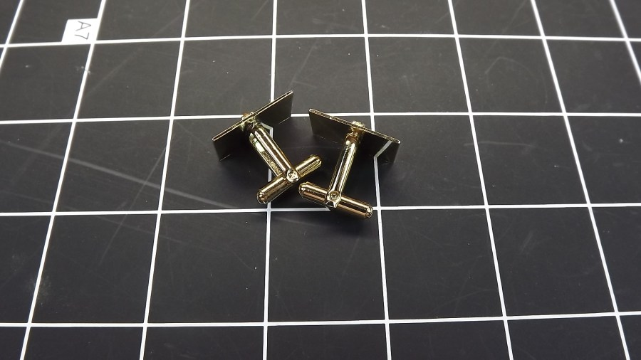 VINTAGE ANTIQUE GOLD TONE RECTANGLE SHAPED CUFF LINKS W/ CITRINE STONES 2