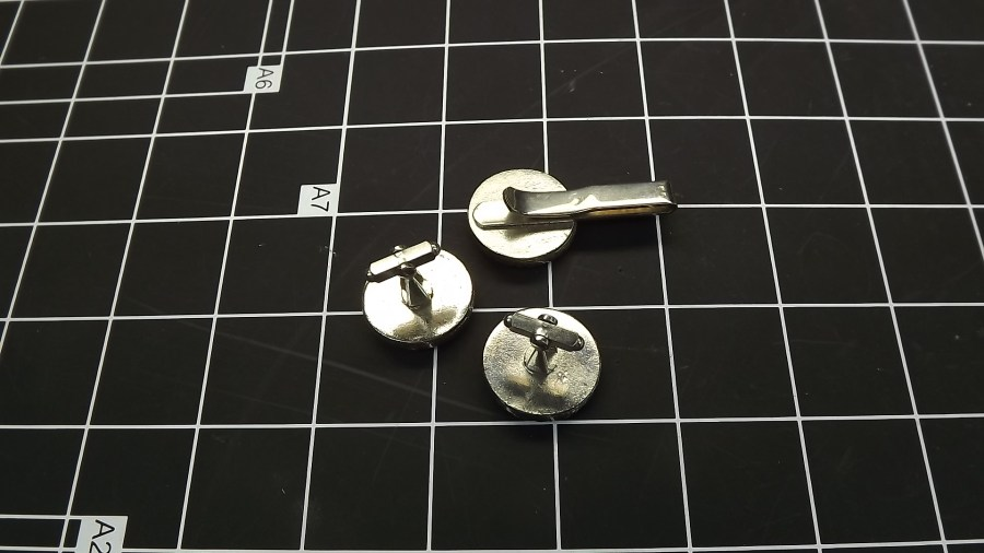VINTAGE ANTIQUE SILVER TONE COMEDY TRAGEDY DRAMA MASKS CUFF LINKS & TIE CLIPS 2