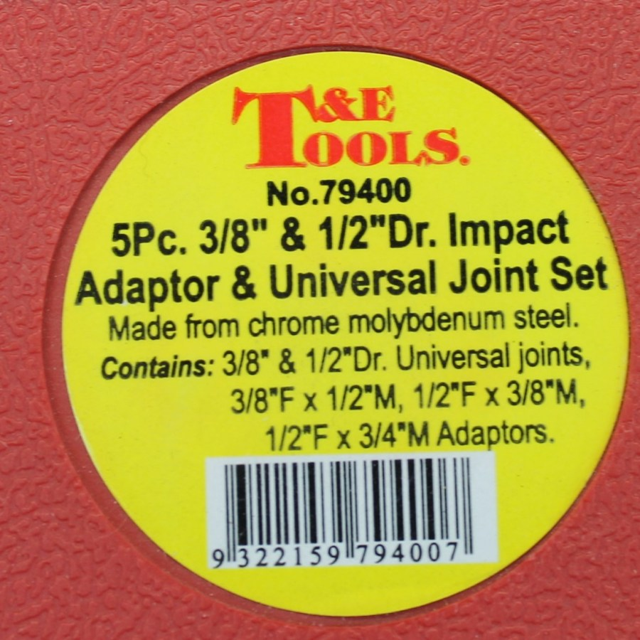 T&E Tools 5-PIECE Impact Adaptor / Universal Joint Set BRAND NEW in red plastic case 2