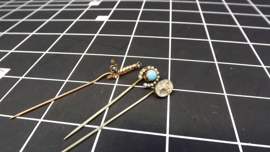3 VINTAGE ANTIQUE GOLD TONE STICK PINS W/ TURQUOISE 1