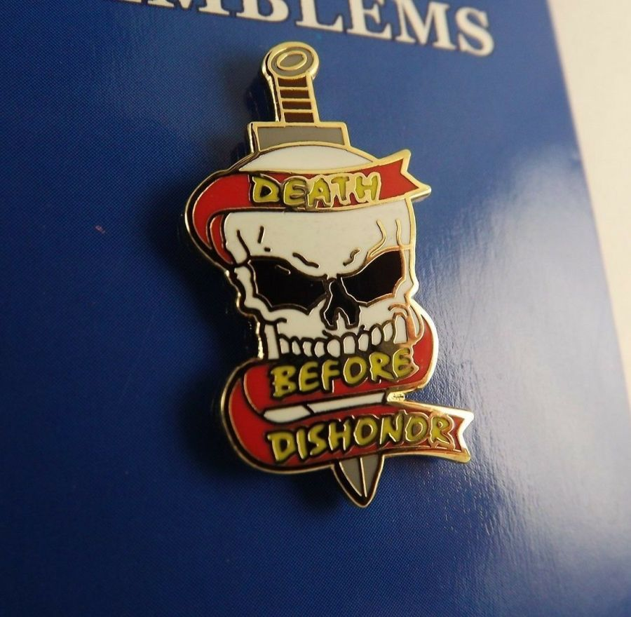 "BRAND NEW Lapel Pin Death Before Dishonor Skull Black White Red Enamel 1"" 1"