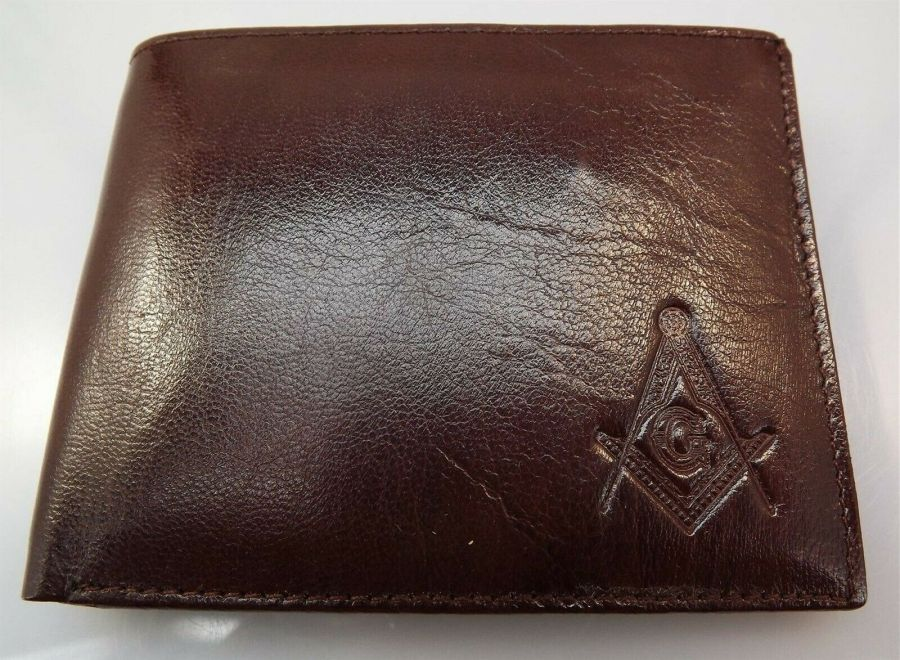 New Genuine Leather BROWN Masonic Freemason Embossed Square & Compass WALLET 1