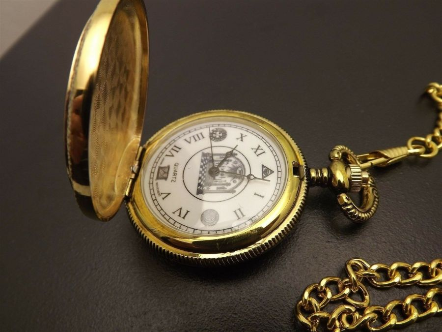 New Masonic Mason Pocket Watch Gold Tone Square & Compass BLUE LODGE ENAMEL 5