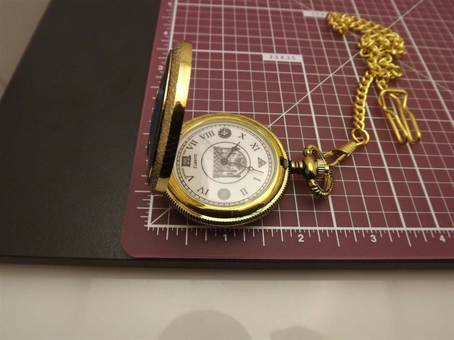 New Masonic Mason Pocket Watch Gold Tone Square & Compass BLUE LODGE ENAMEL 10