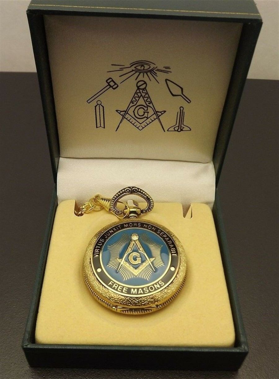 New Masonic Mason Pocket Watch Gold Tone Square & Compass BLUE LODGE ENAMEL 1