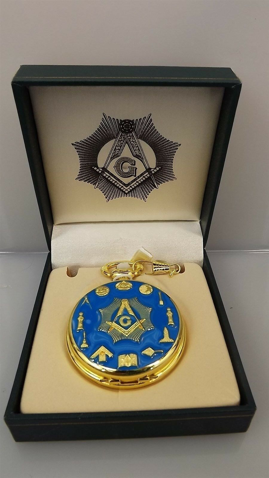 New Masonic Mason Pocket Watch Square & Compass WORKING TOOLS QUARTZ BLUE LODGE 1