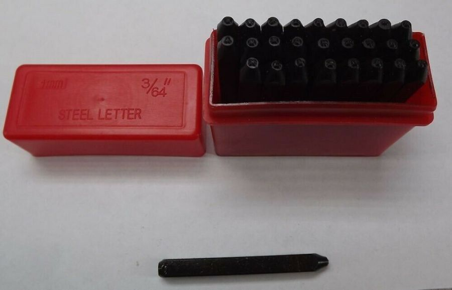 """1.5MM CAPITAL LETTER Punch Stamp Set Metal-Steel 3/64"""" 27 PIECE NEW PLASTIC CASE 1"""