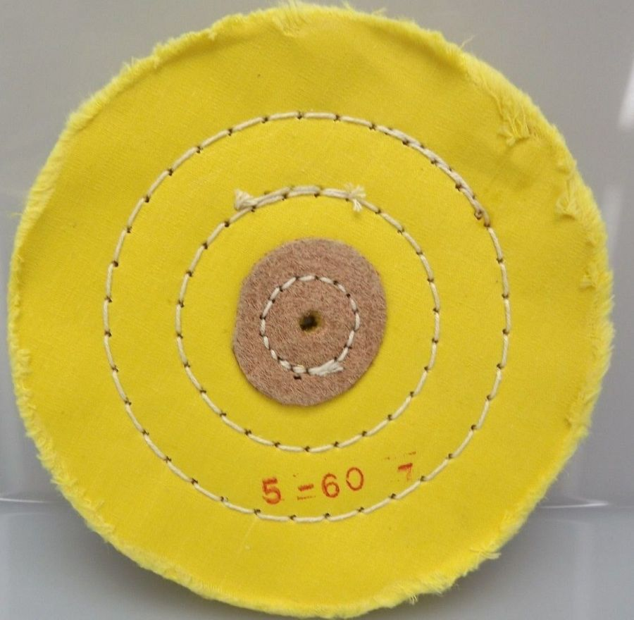 6-PIECE SET YELLOW BUFFING WHEEL 5'' PLY HARD CLOTH / LEATHER STITCHED JEWELERS 3
