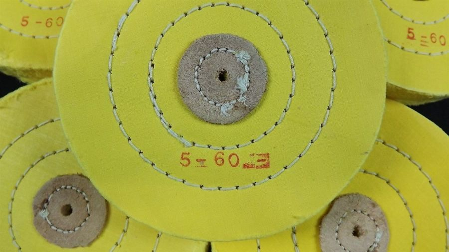 6-PIECE SET YELLOW BUFFING WHEEL 5'' PLY HARD CLOTH / LEATHER STITCHED JEWELERS 4