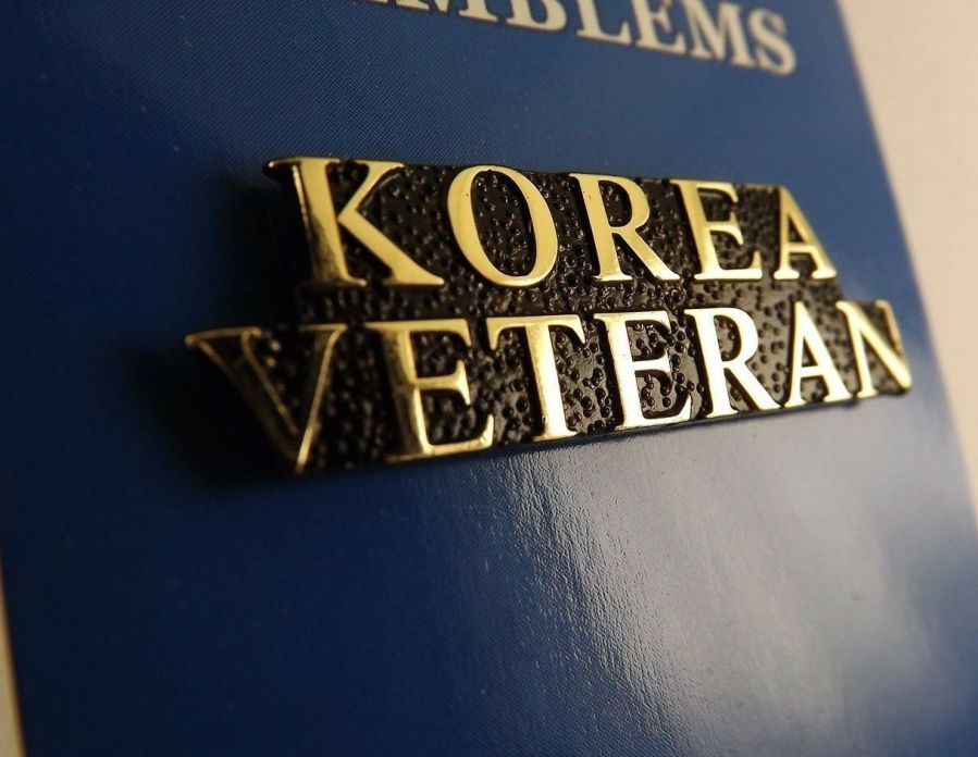 "BRAND NEW Lapel Pin KOREA VETERAN Letters Gold Tone Script 1 1/2"" 1"