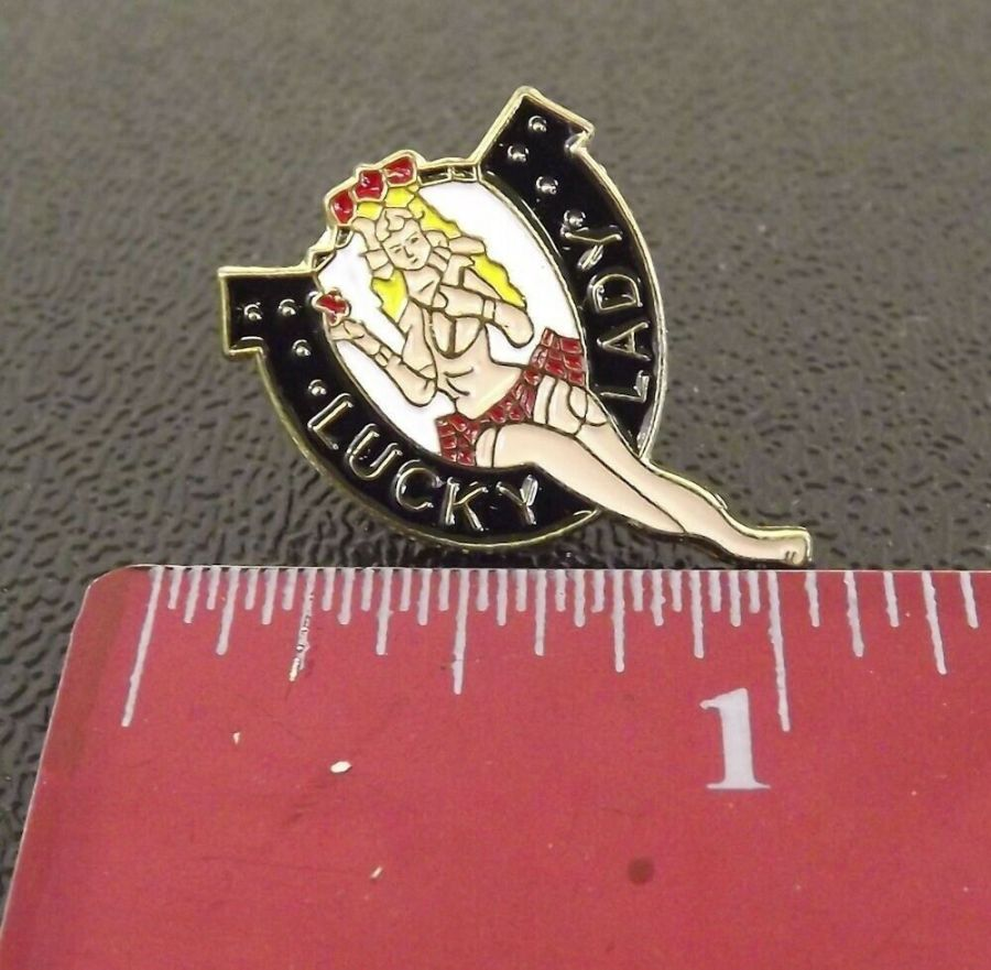 """Collectible Enamel Pin Up Girl Lapel Pin Hat """"WWII NOSE PIN ART"""" Lucky Lady 3"""