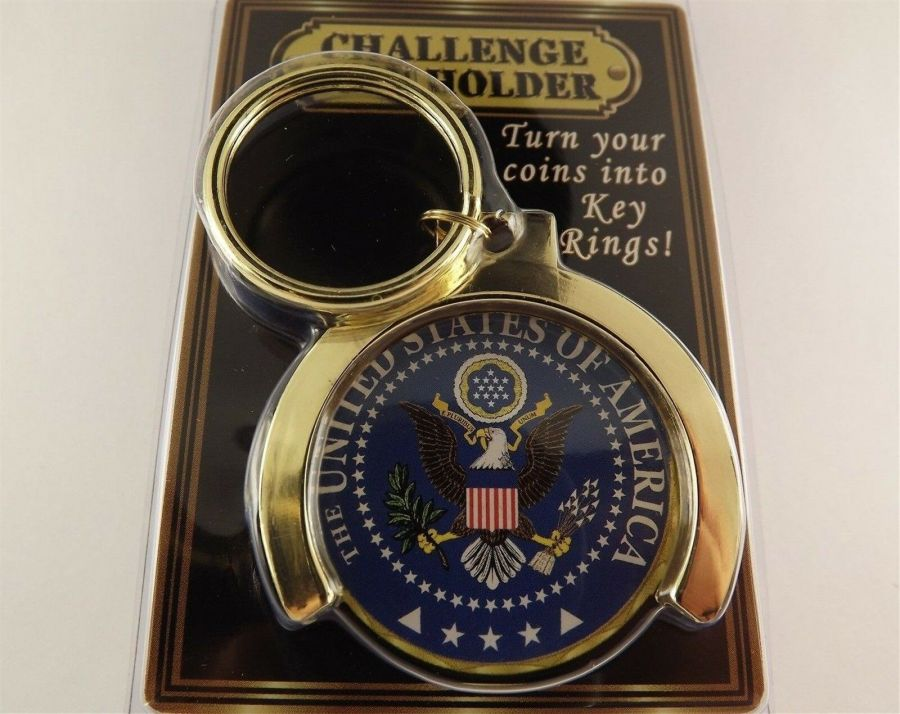 """GOLD PLATED KEY RING KEYCHAIN BRAND NEW 1-5/8"""" CHALLENGE COIN HOLDER 1"""