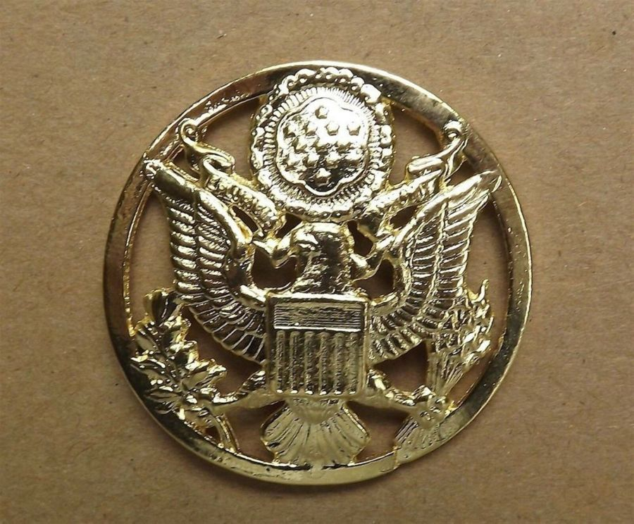 """Lapel pin NEW Badge US Army Enlisted Gold Circle 1-7/8"""" Gold Plated 1"""