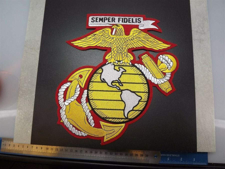 MARINE CORPS USMC JACKET PATCH SEMPER FI X-LARGE NEW EAGLE GLOBE ANCHOR 10-inch 4